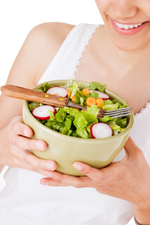 woman with salad and antioxidants